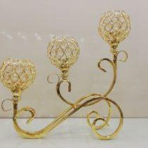 شمعدان بافت طلایی سه شاخه