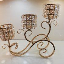 شمعدان بافت طلایی سه شاخه چین