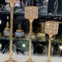 شمعدان بافت طلایی سه سایز چین