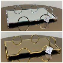 سینی آیینه ای فلزی مستطیل سیلور و طلایی