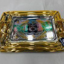 سینی جفتی سیلور مستطیل با حاشیه طلایی