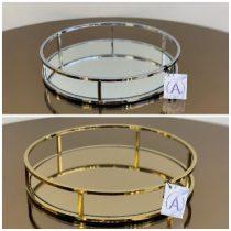 سینی آیینه ای فلزی دایره