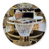 سطل و جا دستمال شیشه ترک ، یک دکور زیبا و چشم گیر شیشه با کیفیت عالی ترک ، آبکاری فورتیک دکور